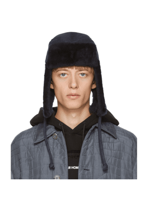 Paul Smith Navy Sheepskin Chapka Hat