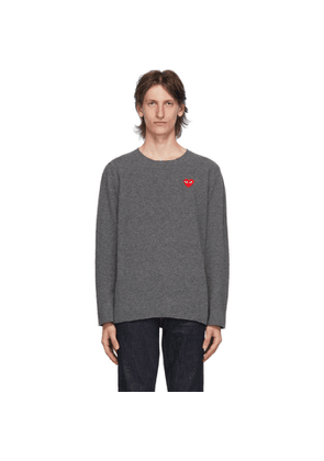 Comme des Garcons Play Grey Heart Patch Crewneck Sweater