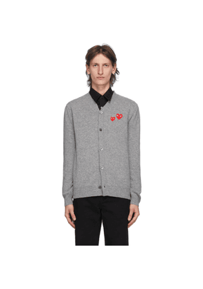 Comme des Garcons Play Grey Wool Double Heart Cardigan