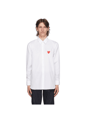 Comme des Garcons Play White and Red Heart Patch Shirt
