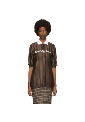 Burberry Brown Oversized Plisse Polo