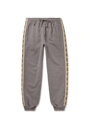 Gucci - Tapered Logo-Jacquard Webbing-Trimmed Loopback Cotton-Jersey Sweatpants - Men - Gray