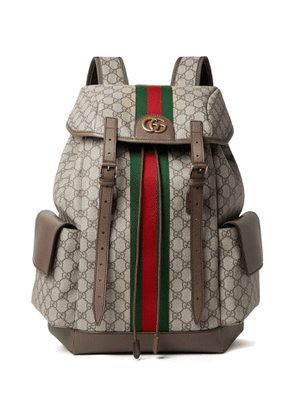 Gucci - Ophidia Leather and Webbing-Trimmed Monogrammed Coated-Canvas Backpack - Men - Brown