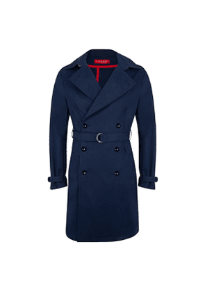 Navy Cotton Belted Trench Coat