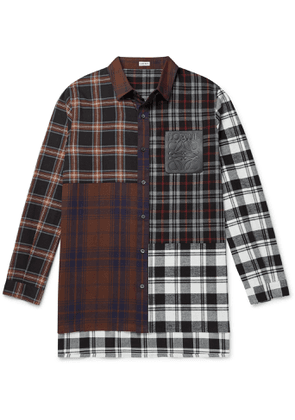 Loewe - Leather-Trimmed Patchwork Checked Cotton-Flannel Shirt - Men - Brown