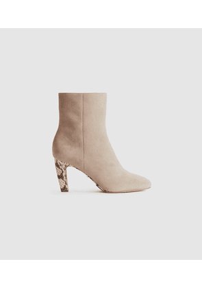 Reiss Sophia - Suede Ankle Boots With Snake Detail in Taupe, Womens, Size 3