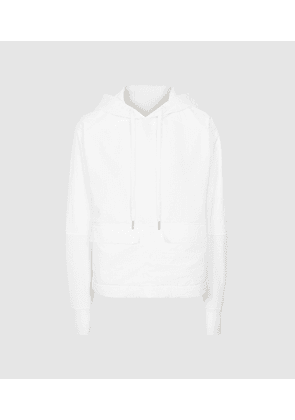 Reiss Mercy - Fabric Mix Hoodie in White, Womens, Size XS