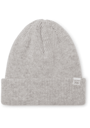 Norse Projects - Logo-Appliquéd Ribbed Wool Beanie - Men - Gray