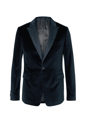 Paul Smith - Slim-Fit Satin-Trimmed Cotton-Velvet Tuxedo Jacket - Men - Blue