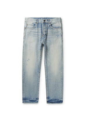SAINT LAURENT - Cropped Distressed Denim Jeans - Men - Blue