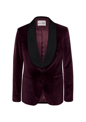 SALLE PRIVÉE - Burgundy Bori Slim-Fit Satin-Trimmed Cotton-Velvet Tuxedo Jacket - Men - Burgundy