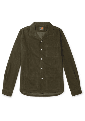 The Workers Club - Camp-Collar Garment-Dyed Cotton-Corduroy Overshirt - Men - Green