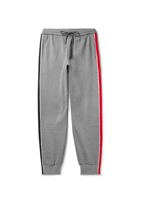 Thom Browne - Tapered Striped Webbing-Trimmed Cotton-Jersey Sweatpants - Men - Gray