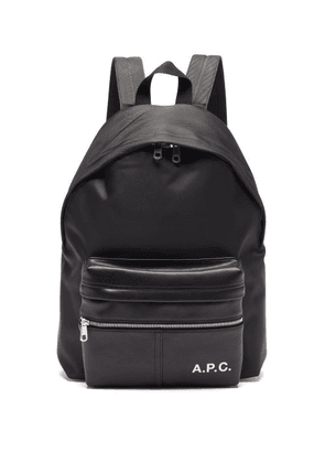 A.P.C. - Camden Faux-leather And Canvas Backpack - Mens - Black