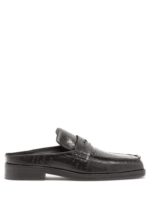 Martine Rose - London-embossed Backless Leather Penny Loafers - Mens - Black
