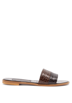 Avec Modération - Bahamas Crocodile-effect Leather Slides - Womens - Black Brown