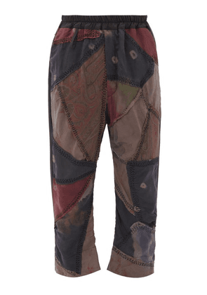 By Walid - Gerald Patchwork Silk And Wool-blend Trousers - Mens - Brown