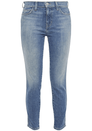 Current/elliott The Caballo Cropped Faded Mid-rise Skinny Jeans Woman Mid denim Size 29