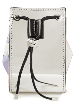 Emilio Pucci Printed Twill And Faux Mirrored-leather Cosmetics Case Woman Silver Size --