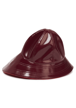 Emilio Pucci Glossed Faux Leather Bucket Hat Woman Burgundy Size III