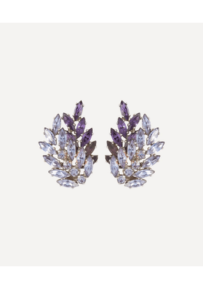 Rhodium-Plated 1950s G. Sherman Crystal Clip-On Earrings