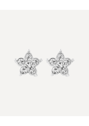 Rhodium-Plated 1980s Nina Ricci Crystal Flower Clip-On Stud Earrings