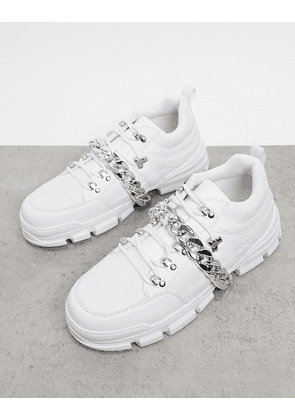 Truffle Collection white chunky trainer with removable chain detail
