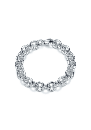 Large round link bracelet in sterling silver, 7' long - Size 7 in