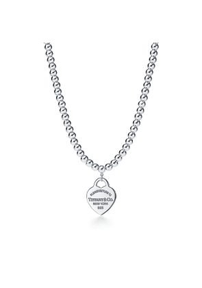 Return to Tiffany™ small heart tag in sterling silver on a bead necklace - Size 16 in