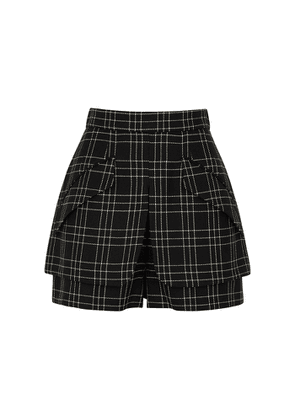 Alexander McQueen Monochrome Checked Wool Shorts