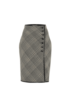 Checked virgin wool pencil skirt