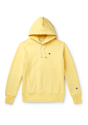 Champion - Logo-Embroidered Fleece-Back Cotton-Blend Jersey Hoodie - Men - Yellow