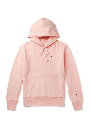 Champion - Logo-Embroidered Fleece-Back Cotton-Blend Jersey Hoodie - Men - Pink