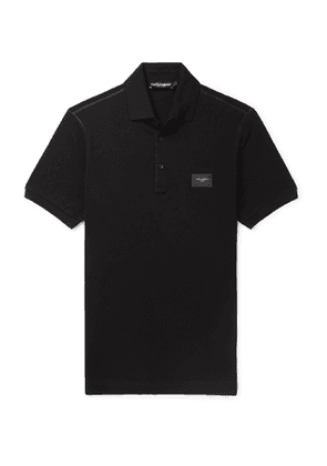Dolce & Gabbana - Slim-Fit Logo-Appliquéd Cotton-Piqué Polo Shirt - Men - Black