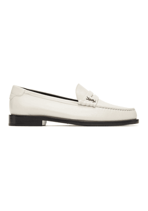 Saint Laurent Off-White Monogram Penny Loafers