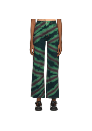 Eckhaus Latta Green and Red Directional Spray Wide Leg Jeans