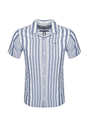 Tommy Jeans Stripe Camp Short Sleeve Shirt Blue