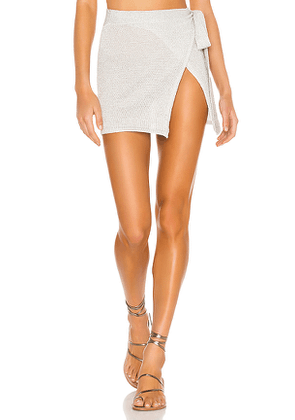 Lovers + Friends Shine Bright Skirt in Metallic Silver. Size L.