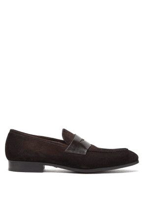 Santoni - Suede And Leather Penny Loafers - Mens - Dark Brown