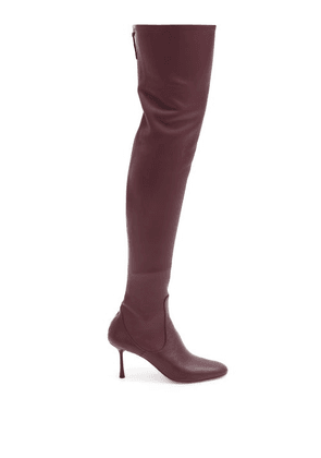Francesco Russo - Over-the-knee Leather Sock Boots - Womens - Burgundy