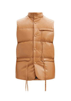 Bed J.w. Ford - Quilted Down Leather Gilet - Mens - Brown