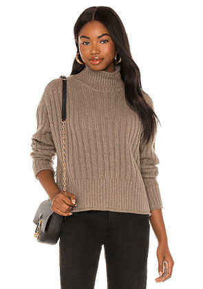 Autumn Cashmere Ribbed Mock Neck Sweater in Brown. Size L,M,S.