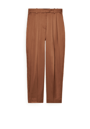 Tapered Satin Trousers - Beige