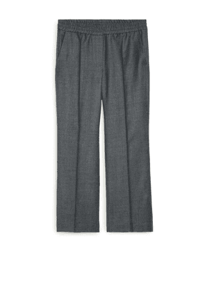 Wool Flannel Pull-On Trousers - Grey