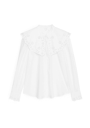 Embroidered Wide Collar Blouse - White