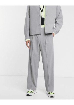 ASOS WHITE volume suit trousers in grey