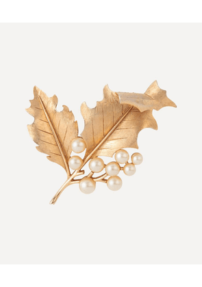 Gold-Plated 1960s Trifari Faux Pearl Leaf Brooch