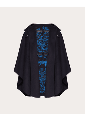 Valentino Embroidered Compact Drap Cape Women Navy Virgin Wool 95%, Cashmere 5% 44