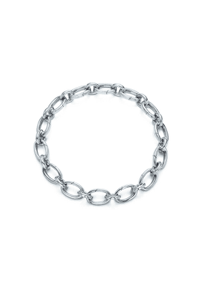 Link clasp bracelet in 18k white gold, 7.5' long - Size 7.5 in