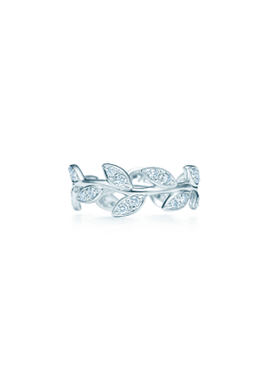 Paloma Picasso® Olive Leaf narrow band ring in 18k white gold with diamonds - Size 6